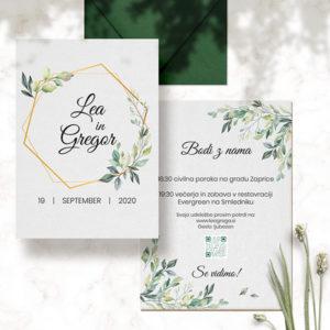 zlato zeleno poročno vabilo lea in grega spredi in zadi