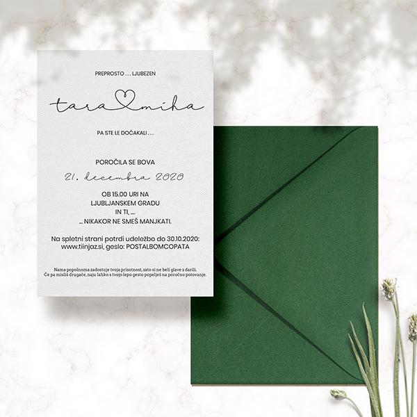 minimalisticno poročno vabilo tara in miha 2