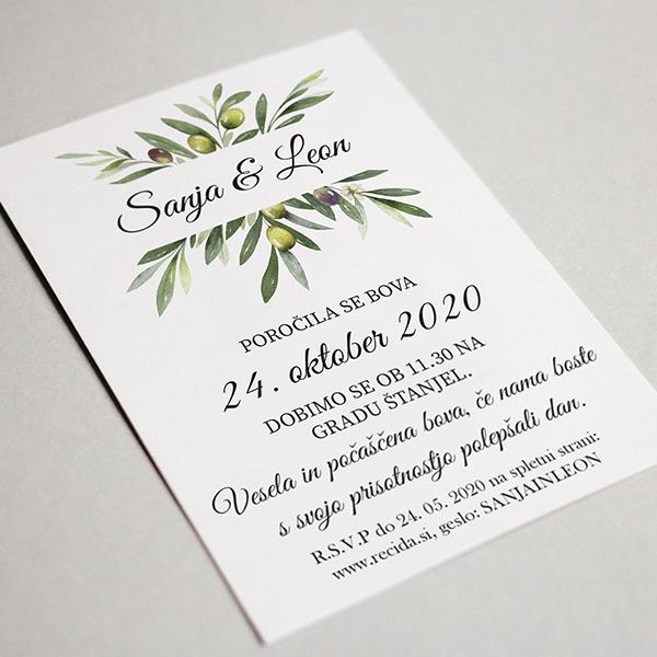 poročno vabilo z olivnimi vejami
